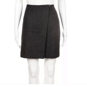 Eddie Bauer charcoal gray Wool wrap skirt 8